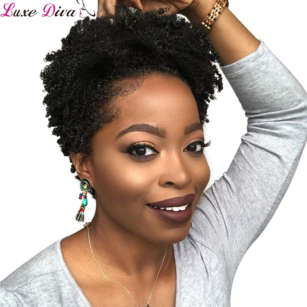 Luxediva Short Wigs For Black Women Afro Curly Human Hair Wigs Brazilian Hair Machine Made Remy Short Hair Wigs Afro Kinky Curly