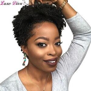 Luxediva Short Wigs For Black Women Afro Curly Human Hair Wigs Brazilian Hair Wigs No Lace Remy Short Hair Wigs Afro Kinky Curly(China)