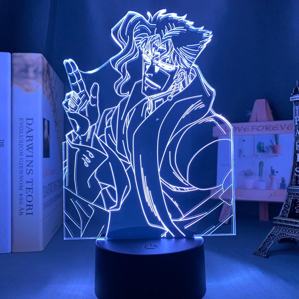 H029b4dc8d9e648288ed7fd849dd94378E Luminária Jojo's Bizarre Adventure noriaki kakyoin 3d luz anime para decoração do quarto luz presente de aniversário manga jojo figura acrílico noite lâmpada
