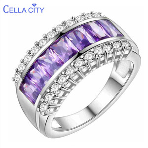 Cellacity Solid 100% 925 Sterling Silver Ring Women Amethyst Rings Gemstone Fine Jewelry Ring Party Anniversary wholesale Gifts(China)