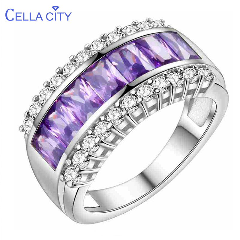 Cellacity Solid 100% 925 Sterling Silver Ring Women Amethyst Rings Gemstone Fine Jewelry Ring Party Anniversary wholesale Gifts