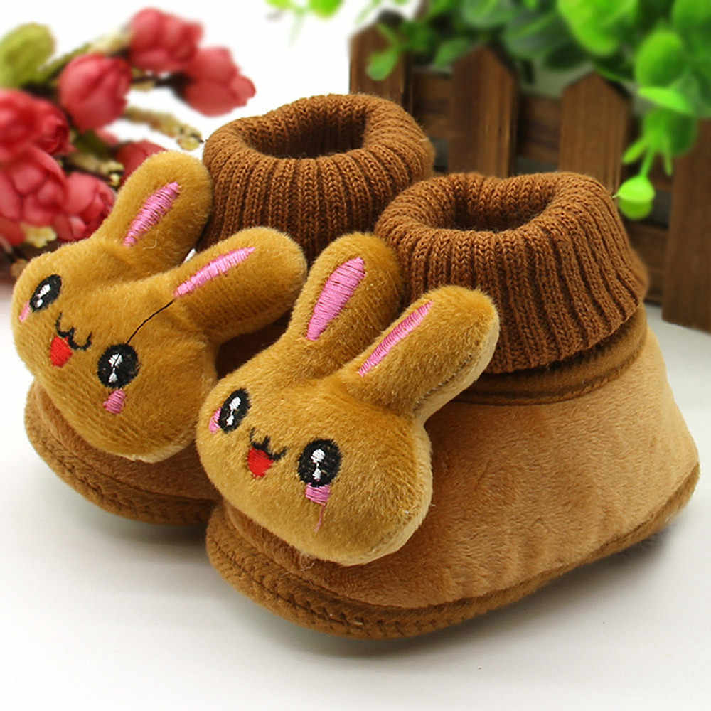 2019 Baby Girl Boys Shoes Newborn Baby Moccasins Shoes Non-slip Crib First Walker Cashmere Rabbit Winter Boots Baby Shoes 95