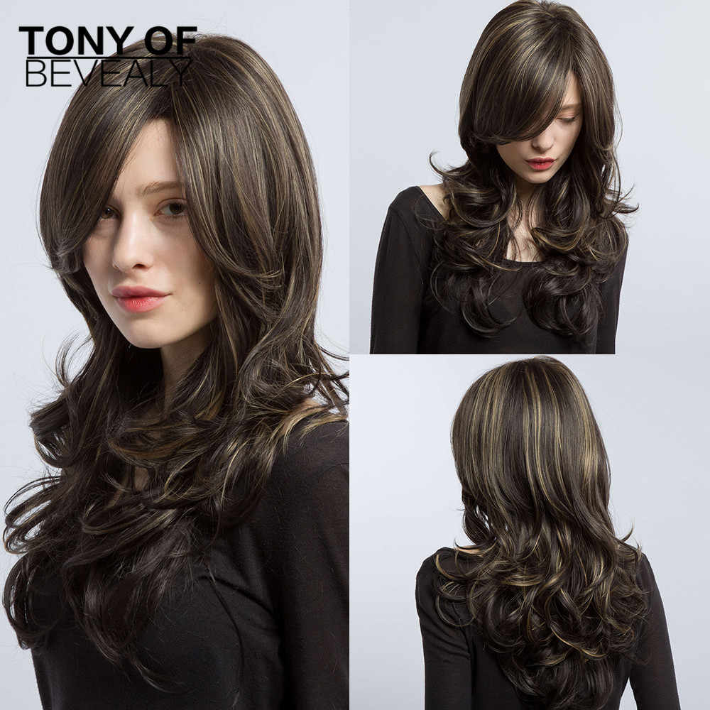 Long Blonde Brown Wavy Wigs With Bangs For Women Synthetic Black Red Female Cosplay Natural Wigs Heat Resistant Fiber Hair Wigs