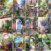 HUACAN-cuadros por número de puerta de flores, Kits de decoración del hogar, pintura por número, dibujo de paisaje sobre lienzo, regalo de arte pintado a mano