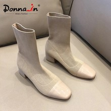Donna-in Soft knitted Sock Boots Stretch Fabric Shoes Med Heels Square Toe Mid Calf For Ladies 2019 Leather Winter Women Boots(China)