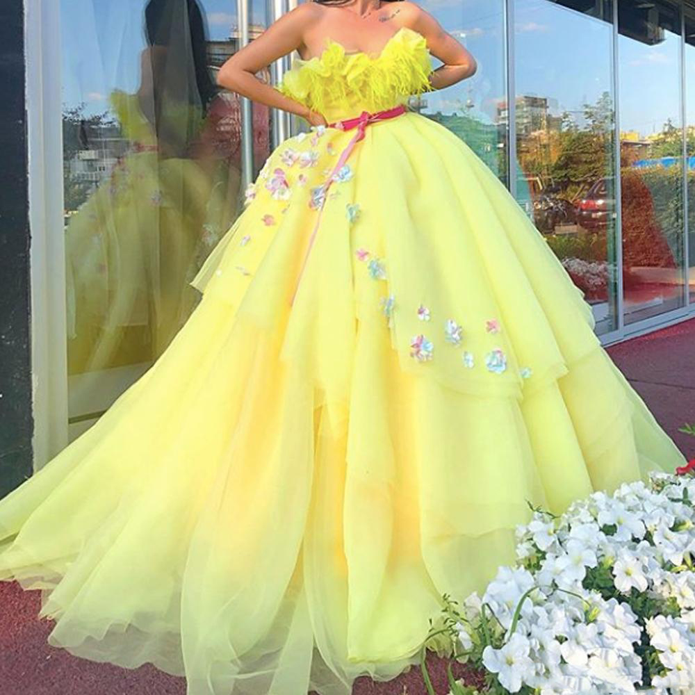 Elegant Yellow Ball Gown Formal Dresses Sweetheart Off Shoulder Prom Party Dress Tiered Tulle 3d Flowers Long Evening Gowns Dresses Aliexpress