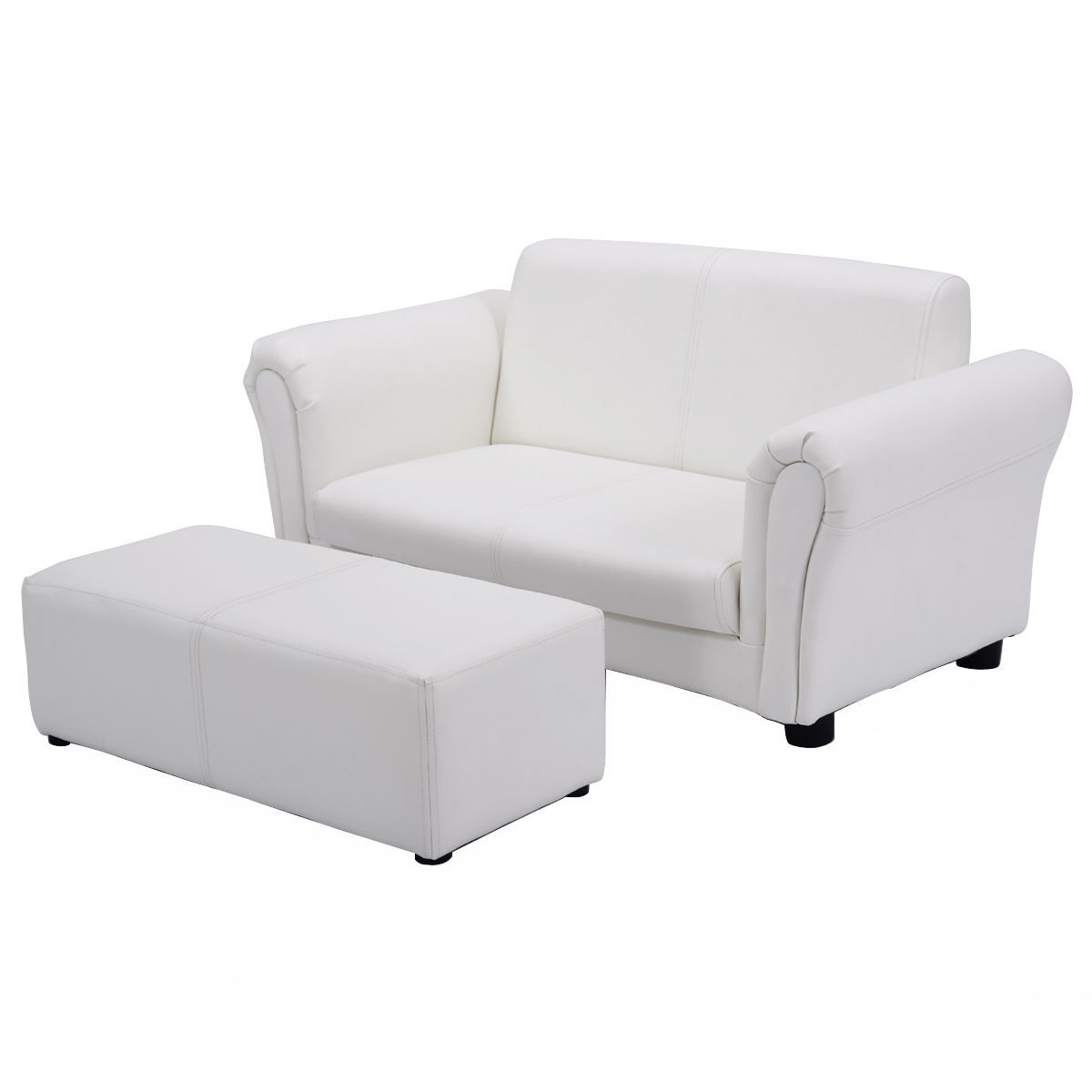 Costway White Kids Sofa Armrest Chair Couch Lounge Children Birthday Gift W/ Ottoman
