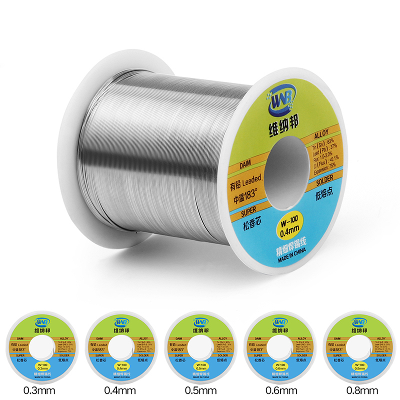 Rosin Core Solder Wire 0.3/0.4/0.5/0.6/0.8mm Leaded Low Melting Point Sn63%/Pb37% 120g Soldering Tin Wire BGA Rework Tools