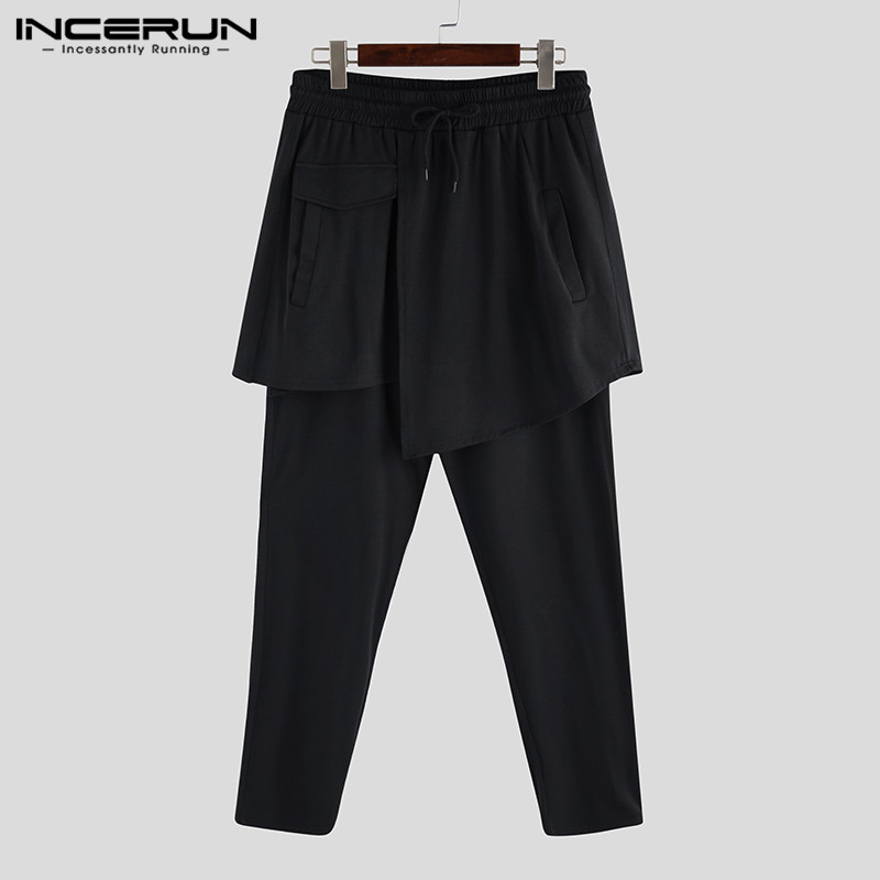 Men's Harem Pants Plus Size 5XL Male Loose Wide Trousers Big Drop Crotch Joggers Casual Black Baggy Streetwear Overalls INCERUN