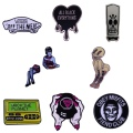 High Quality Copper Gothic Punk Style Lover Enamel Brooch Lapel Backpack Hat Badge Skeleton Rock Band Horror Movie Fan Gifts pin