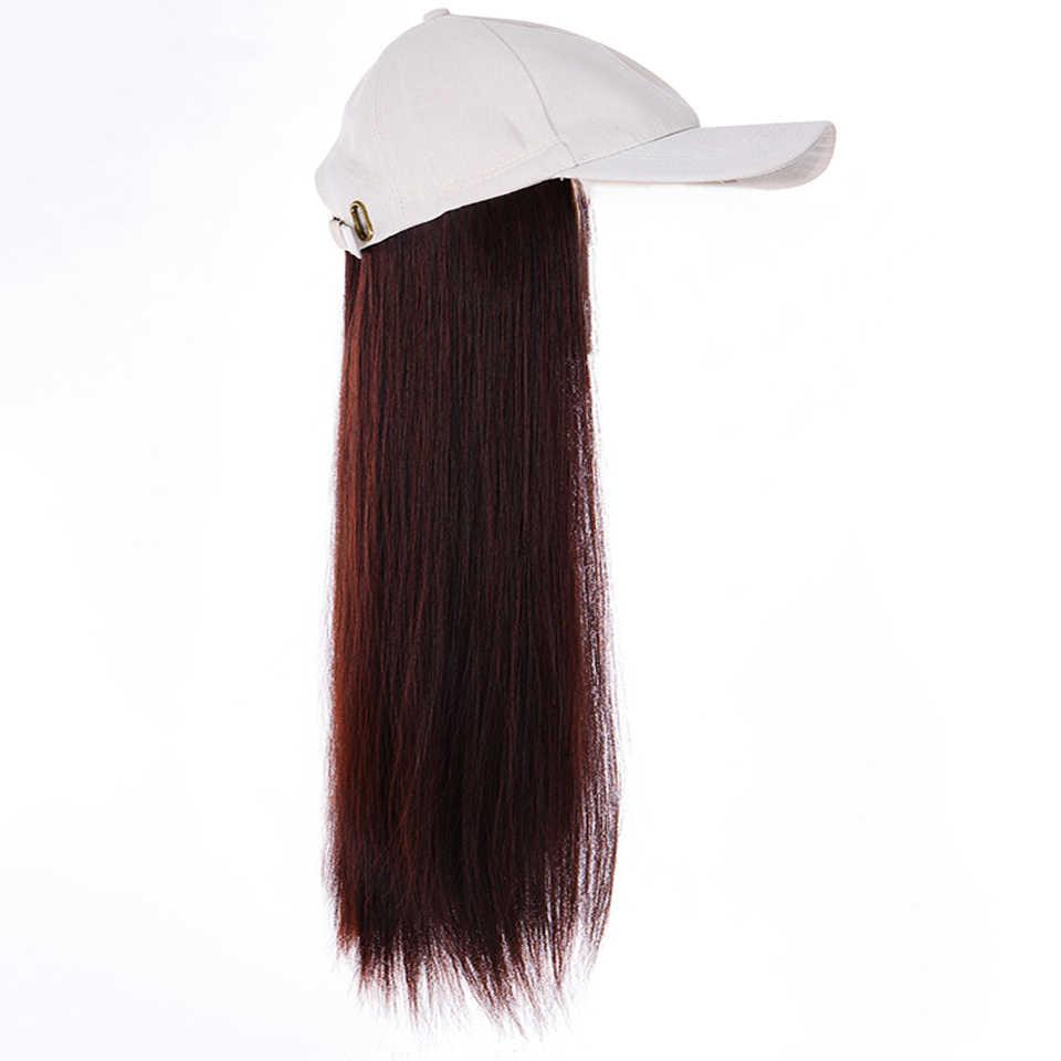 Uzun sentetik beyzbol şapkası peruk doğal siyah/kahverengi dalga peruk doğal sentetik şapka peruk ayarlanabilir kız parti için BUQI