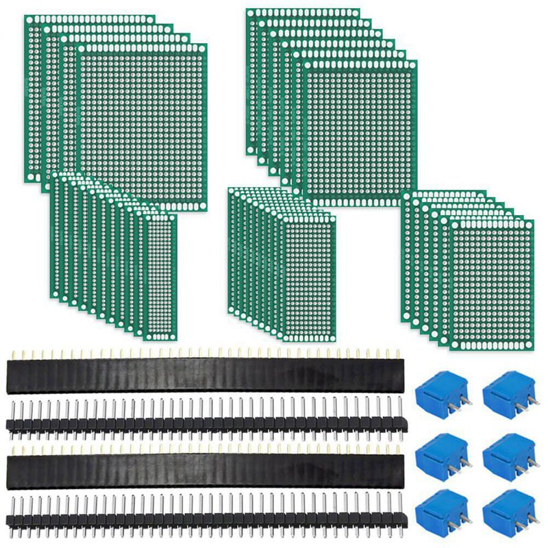 62Pcs PCB Board Kit Includes 32Pcs Double Sided Prototype Boards, 20Pcs Header Connector And 10 Pcs Screw Terminal Blocks