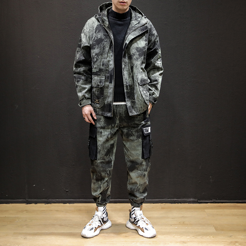2019 Winter New Korean Version Of Japanese Fashion Camouflage Loose Hooded Couple Street Casual Suit
