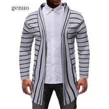 2020 Winter Men's Casual Thick Sweater Men Hooded Sweater Coat Jacket Striped Color Fashion Slim Fit Stitching Cardigan Knitwear