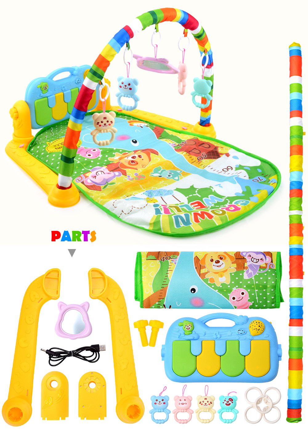 H029c885bb07847248d4e3d201e0e13f0K 16 Styles Baby Music Rack Play Mat Kid Rug Puzzle Carpet Piano Keyboard Infant Playmat Early Education Gym Crawling Game Pad Toy