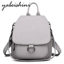여성을위한 회색 배낭 2020 가죽 배낭 대용량 숙녀 배낭 청소년 가방을위한 고품질 학교 가방 어깨 가방