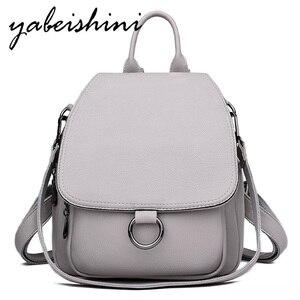 Image 1 - Серый рюкзак для женщин 2020, кожаный рюкзак большой емкости, женский рюкзак, сумка через плечо для молодых сумок