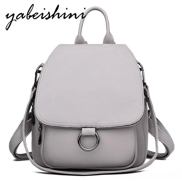 Серый рюкзак для женщин 2020, кожаный рюкзак большой емкости, женский рюкзак, сумка через плечо для молодых сумок
