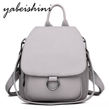 Gray Backpack for women 2020 Leather Backpack High capacity ladies backpack high quality school bag shoulder bag for youth bags