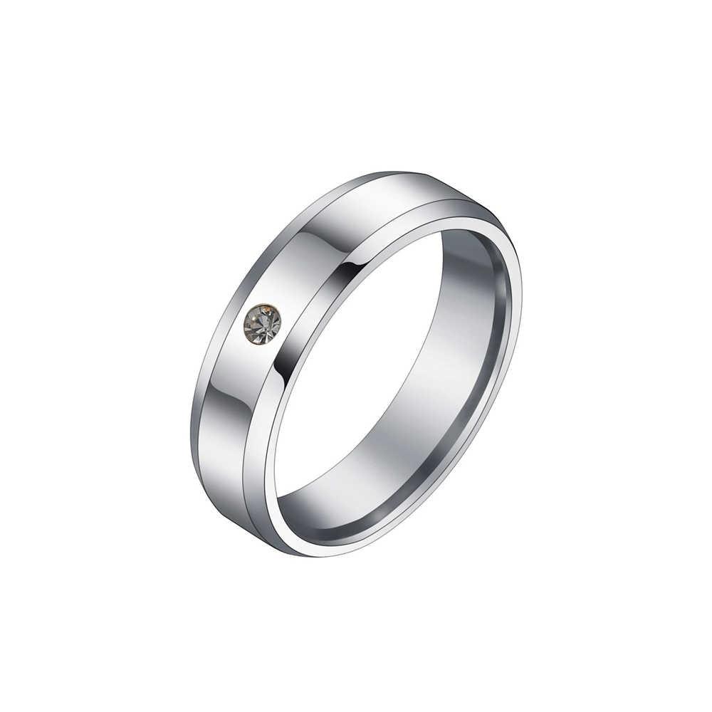 Los amantes del acero inoxidable forman el anillo de los amantes del circón de 6mm de la manera es adecuado tanto para hombres como para mujeres duradero durante mucho tiempo