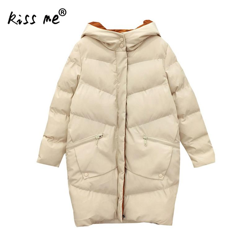 Casual Loose Style Hooded Outdoor Down Jacket Women Winter Thermal Warm Coat Mid-Long Windproof Thicken Overcoat Cotton Clothing