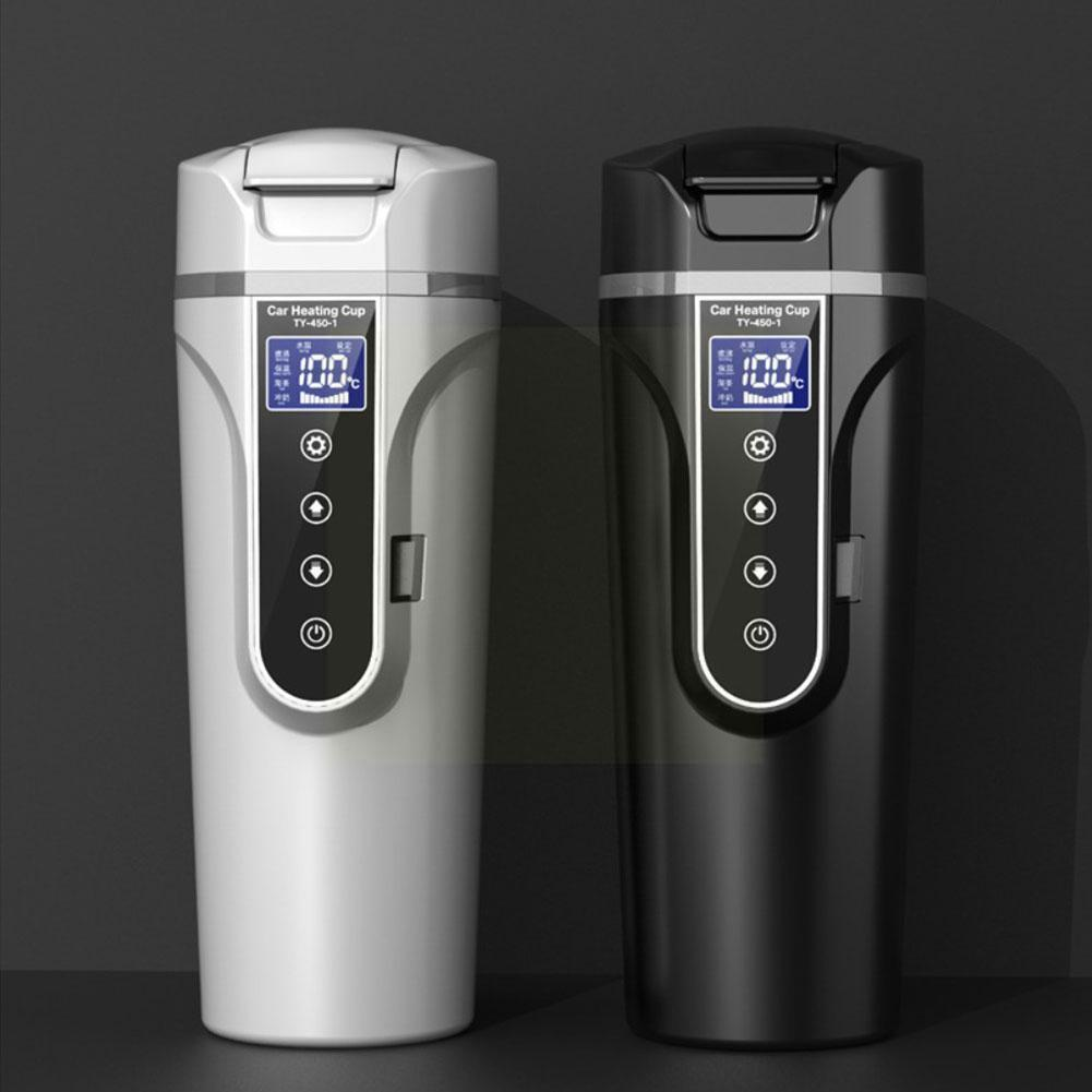 Car Electric Hot Water Cup 12v 24v Car Water Heater Cup Hot Cup Lcd Display Temperature Water W2e2