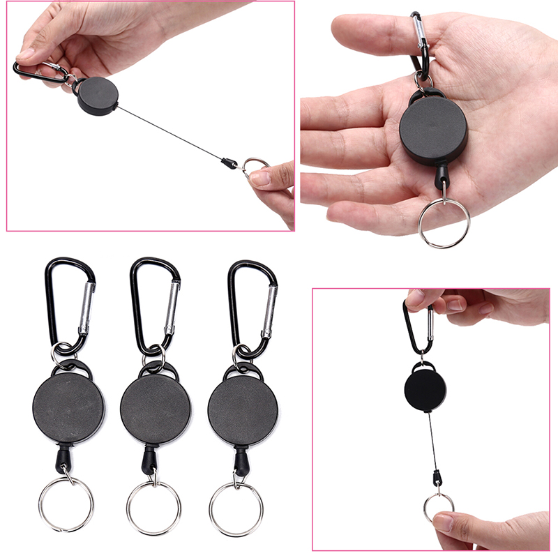 60cm Black Wire Rope Keychain Key Ring Keyring Steel Cord Badge Reel Retractable Recoil Anti Lost Ski Pass ID Card Holder