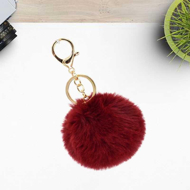 Bola Bulu Imitasi Fox Bulu Halus Beanie Hat Aksesoris Multicolor Cap Pom Pom Kertas Dinding Wanita Gantungan Kunci Tas Tangan