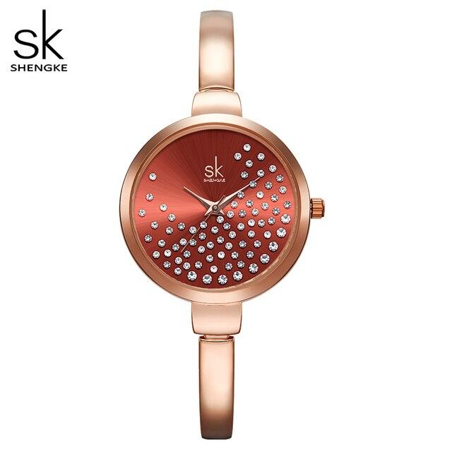 Shengke نساء ساعات نساء ساعة موضة جنيف مصمم ساعة سيدات ماركة فاخرة الماس كوارتز ساعة معصم هدايا للنساء