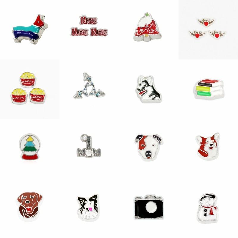10pcs MIxed Cartoon Animal Pattern Floating Charms For Living Memory Locket