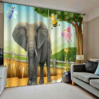 Cartoon curtains elephant curtain 3D Curtain Luxury Blackout Window Curtain Living Room