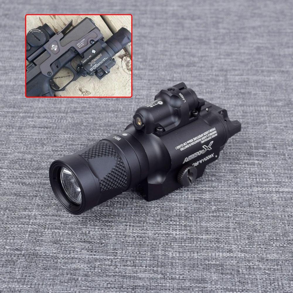 x400v tatico arma luz com laser vermelho pistola lanterna arma airsoft caca constante momentaneo strobe ou