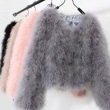 Sexy Ostrich Wool Turkey Real Fur Women Black Coat Genuine Feather Short Plus Size 5Xl,7Xl Winter Festival Long Sleeve Jacket