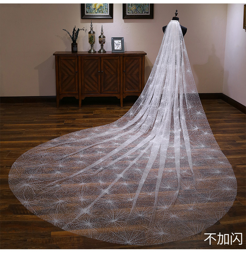 Bride Wedding Veil Wedding Long Section White Polaris Trailing Long Bride Wedding Veil Accessories TS264 - 5