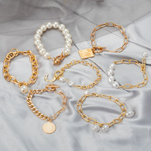 New Punk Bohemian Gold Chain Bracelets for Women Statement Metal Coin Pearl Bracelet Bangles 2021 Trend Femme Vintage Jewelry