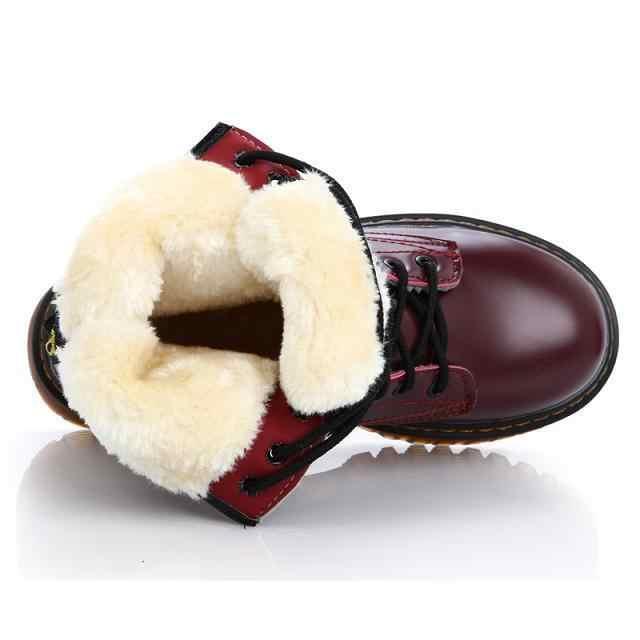 Botas de moto para mujer botas de tobillo con plataforma de tacón grueso con cordones para mujer botas Creepers de cuero botas de invierno calientes Martin