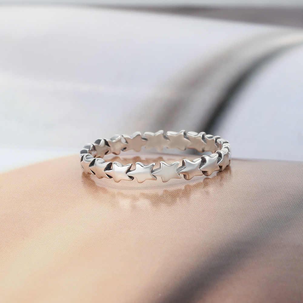 925 anillos серебряные новые модные ювелирные изделия лаконичные укладки Звездные Свадебные Кольца для женщин подарок ANEL Bague милые аксессуары для девочек