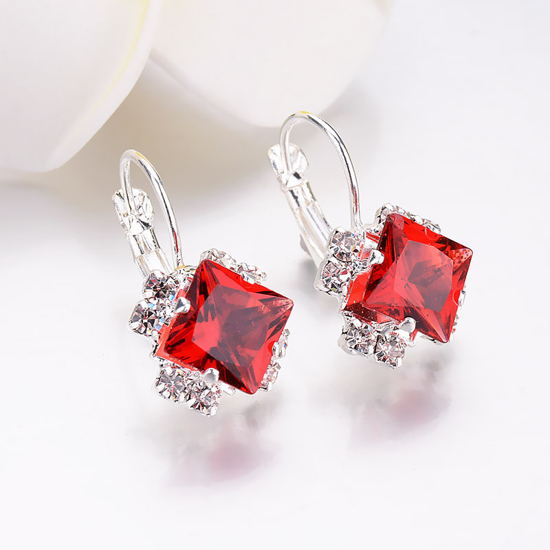 Kpop Crystal Square Stud Earrings for Women Trendy 2020 New Bridal Earrings  Accessories Fashion Christmas Jewelry Girl Gift 5