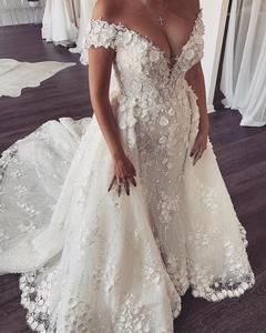Image 2 - Eslieb 3d flower lace wedding dress 2020 Sexy Mermaid wedding dresses Bridal Dresses