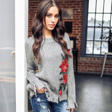 купить Casual Print Loose Women's Knitted Sweater long 2019 Autumn Winter O-neck Long Pullover Long Sleeve  Female Sweater по цене 1119.61 рублей