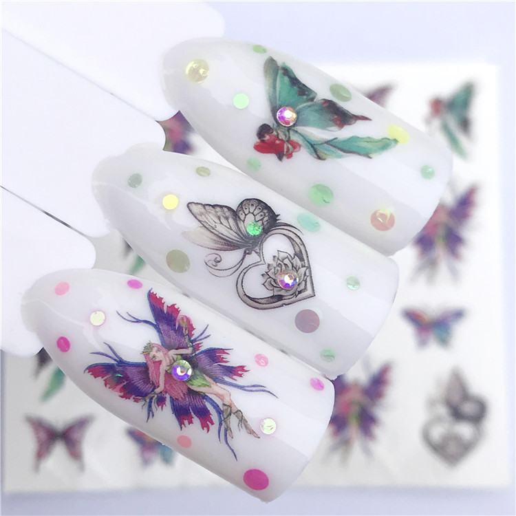 New Style Water Transfer Nail Sticker Butterfly Necklace Nail Sticker Flower Jewelry Factory Direct Selling Support Customizatio