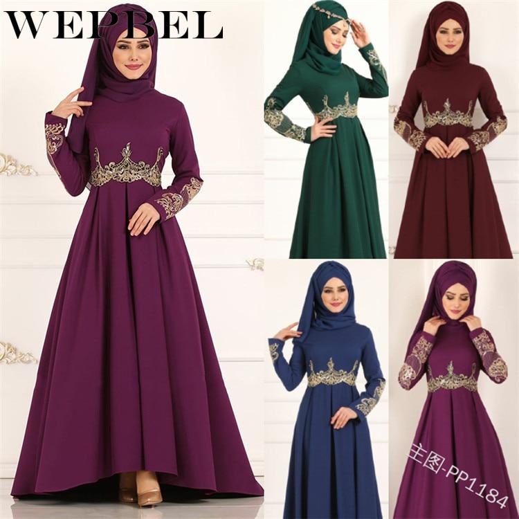 WEPBEL Muslim Women Abaya Dress Full Sleeve Floral Flower Lace Summer New Casual Fashion Lady Long Maxi Dresses