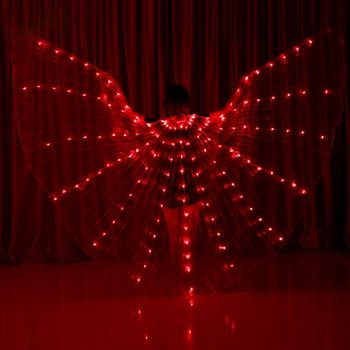 Adults 360 Degree Fluorescent Dance Cloak Electronic Wings Glow Performance Show Hot Led Light Wings Belly Dance New