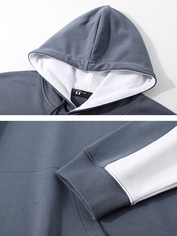 Image 5 - Pioneer Camp 2020 Spring Hoodies Men Streetwear Gray White Hit Color Cotton Causal Hooded Sweatshirts Mens ALY0105076Hoodies & Sweatshirts   -