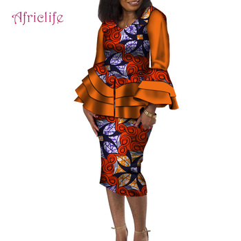 Fashion African Clothes for Women Elegant Tops and Skirt African Print Bazin Riche Women Suit 2 Piece Set Skirt Set WY4316