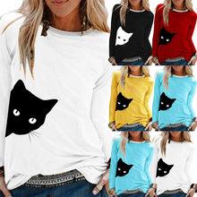 2019 T-Shirt femmes décontracté chat imprimer col rond à manches longues hauts ample T-Shirt Haut Camiseta Mujer Haut femmes Harajuku T-Shirt Poleras