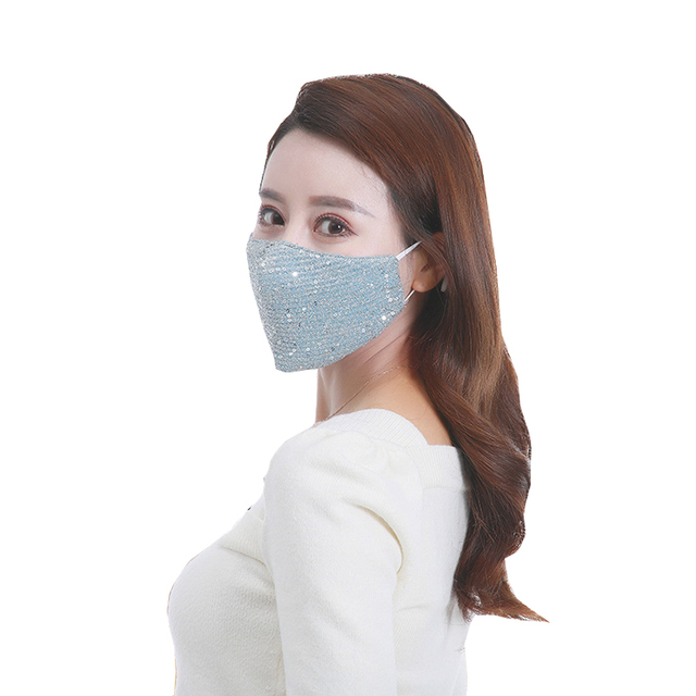 Women Adjustable Solid Color Masks 1pcs Summer Fashion Breathable Sequin Ice Silk Mouth Masks Mouth-muffle Face Cover 3