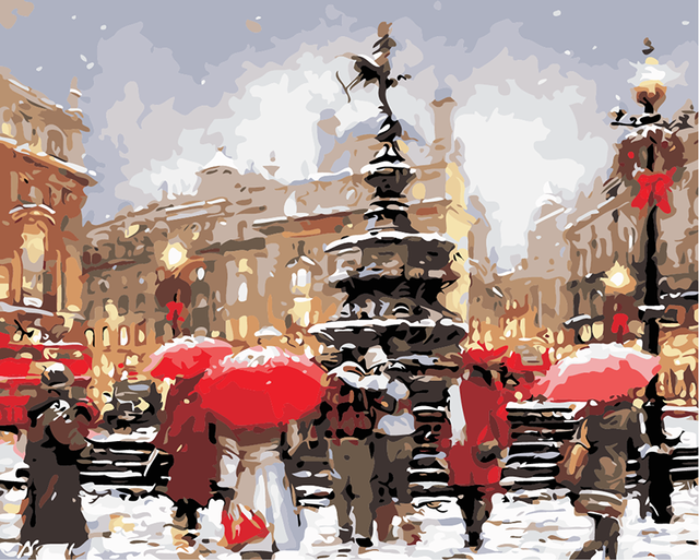 London City Scape Painting By Numbers Kit  Winter Soho Eros Statue