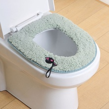 Toilet Seat Cover Cushion Winter Warmer Toilet Bowl Bathroom Soft And Warm Washable Cover Pads For The Toilet Wc