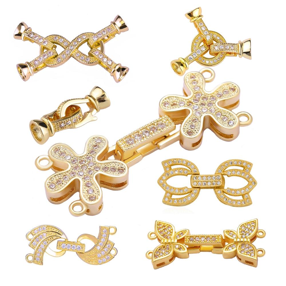 Juya DIY Beading Jewelry Fittings Fastener Lock Closure Pearls Clasps For Women Natural Stones Pearls Jewelry Making